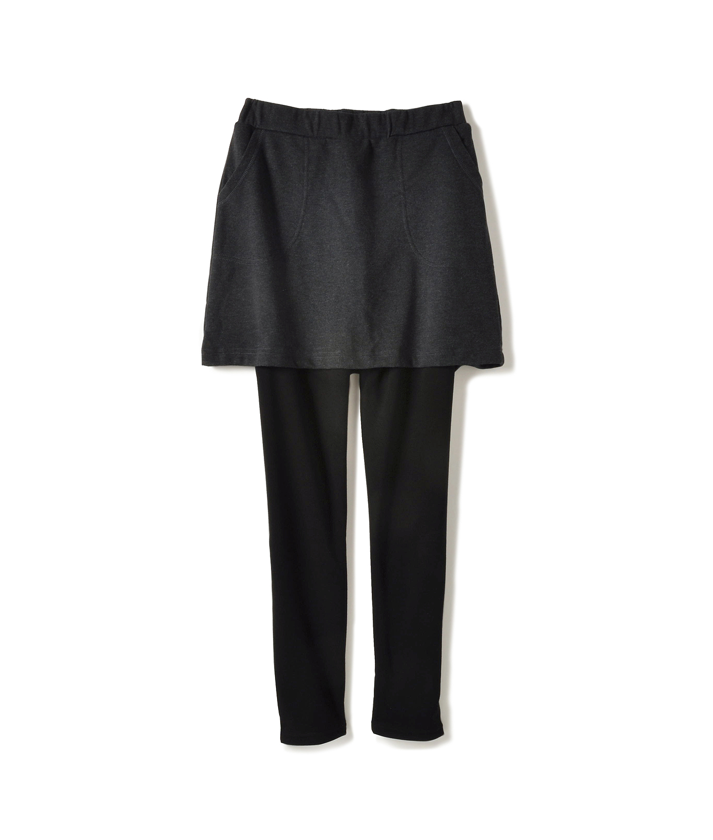レギンス部分は厚手&裏起毛でぽかぽか激暖素材、スカート部分は裏毛のカットソー素材。