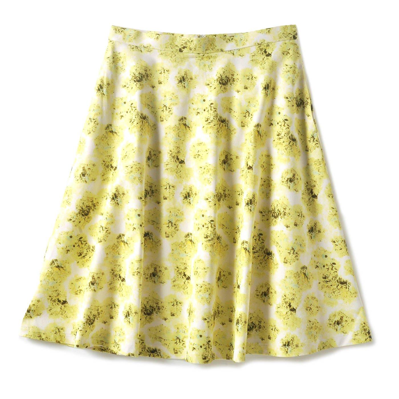 華やかなプリントが美しい フレアースカート(レモンイエロー)
