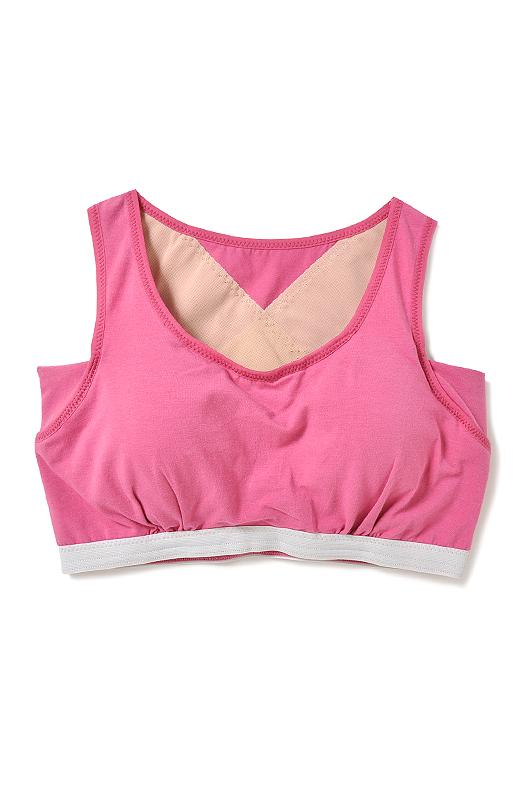 ヨガウェアみたいなニュアンスカラーで、見てもおしゃれ。カップの内側には、胸流れ防止パネル付きで美胸をキープ。