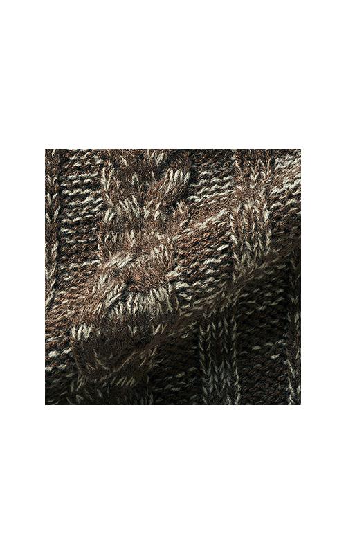 色の違う2本の糸で編んでいるので、柄の出方はひとつずつ違うよ。