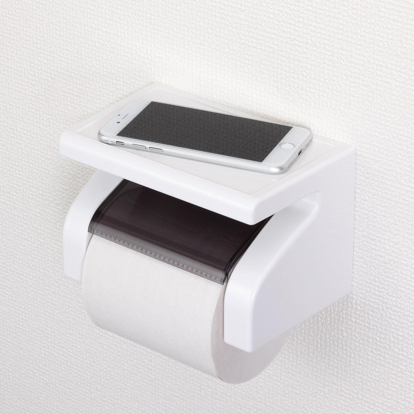 携帯電話や小物が置ける GR棚付きペーパーホルダー