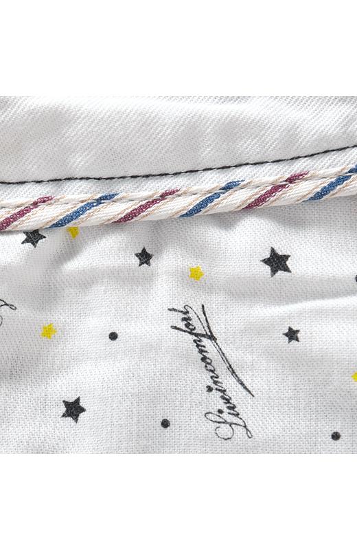 腰裏のパイピングとポケット布のリブインのロゴ柄もひそかなこだわり。