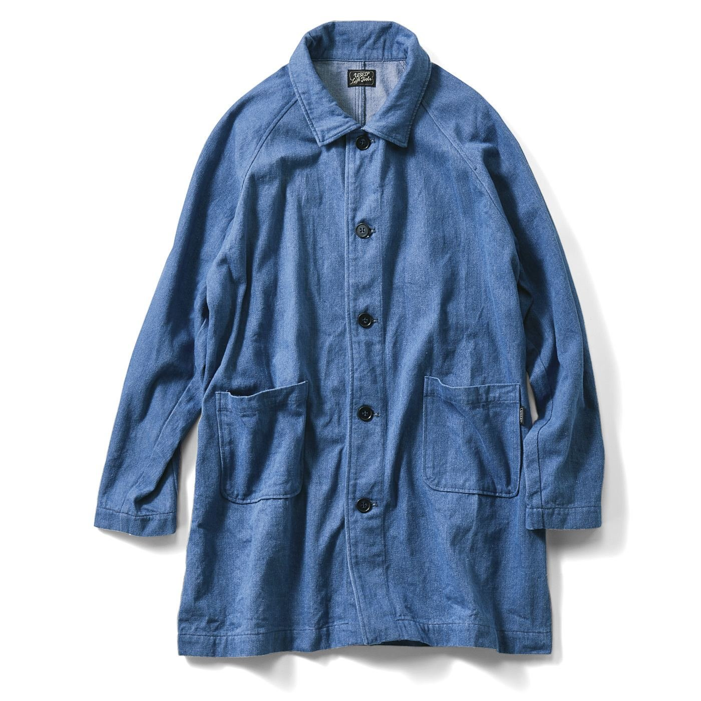 古着屋さんで見つけたようなデニムショップコート〈ライトインディゴブルー〉