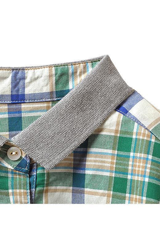 ニットソー素材の衿が絶妙の抜け感を表現