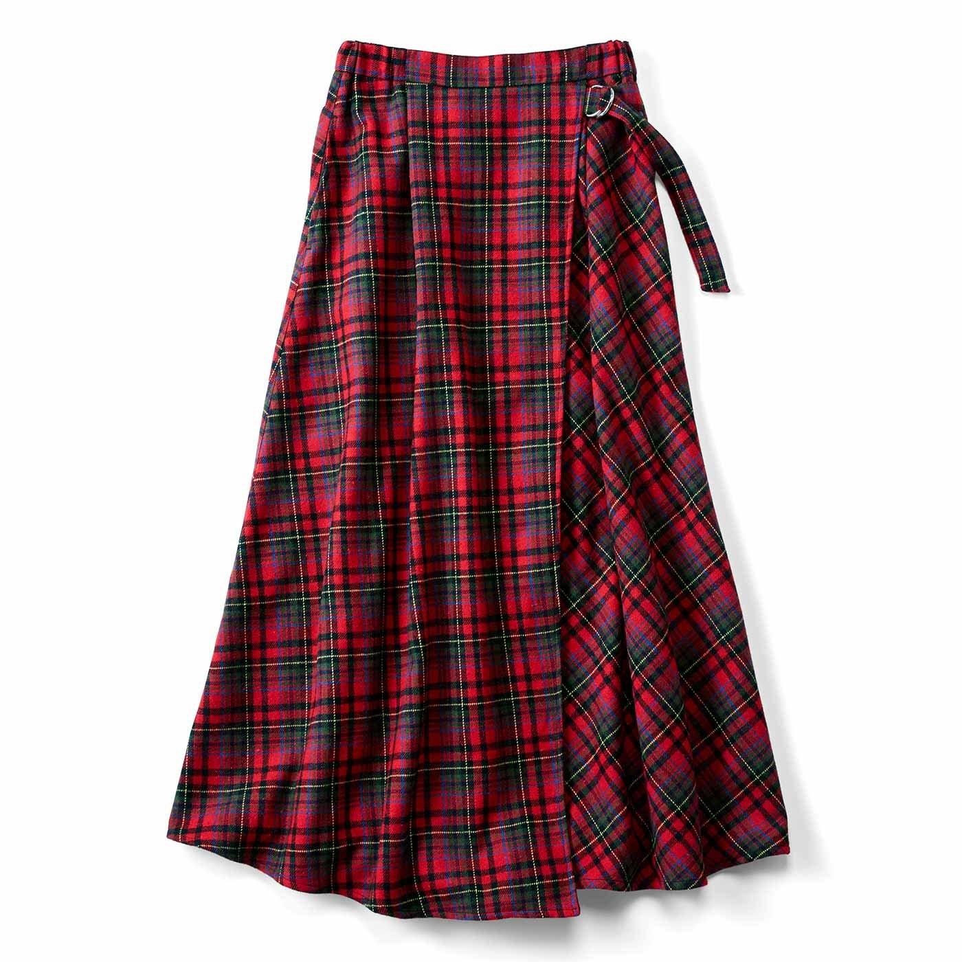 リブ イン コンフォート はくだけで即華やぐ! 大人チェック柄の巻き風スカート〈レッド〉