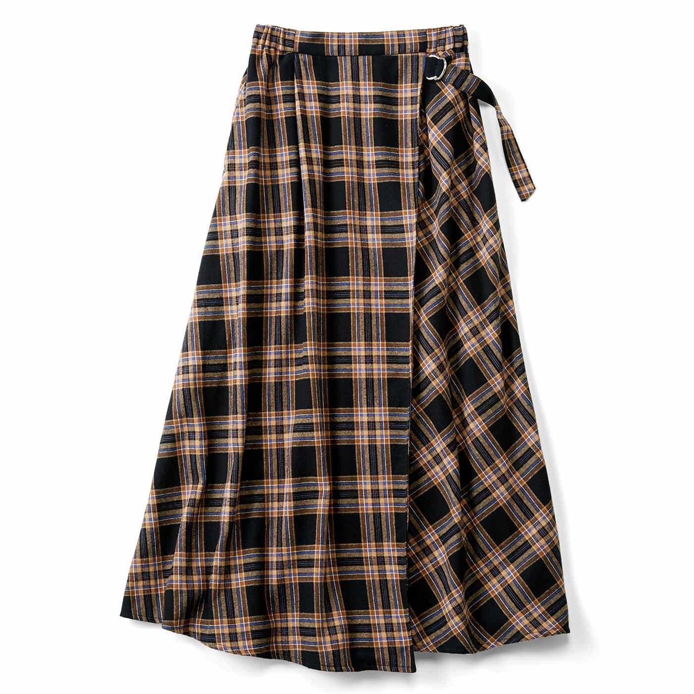 リブ イン コンフォート はくだけで即華やぐ! 大人チェック柄の巻き風スカート〈ブラック〉