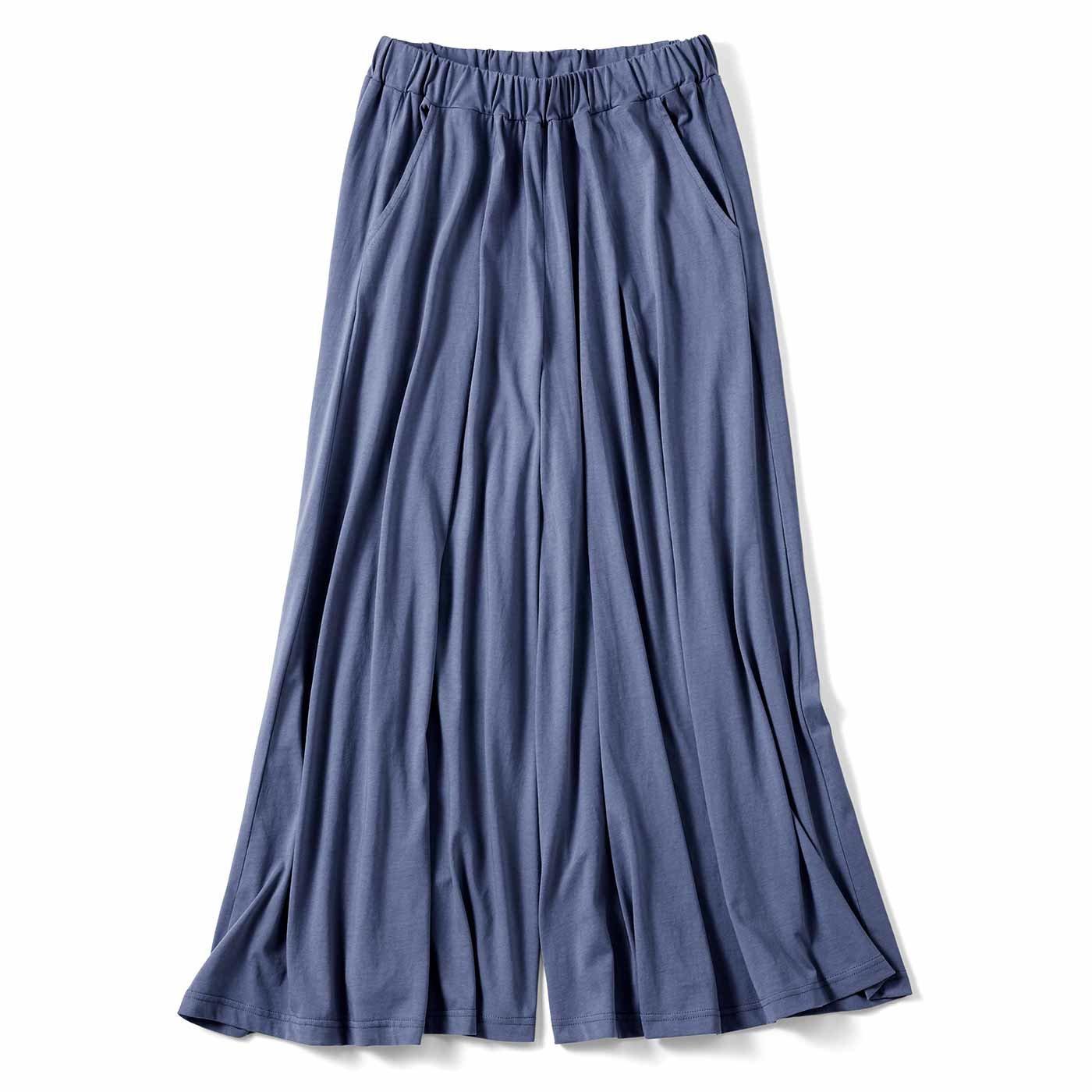 リブ イン コンフォート やわらかカットソー素材のスカート見えガウチョの会