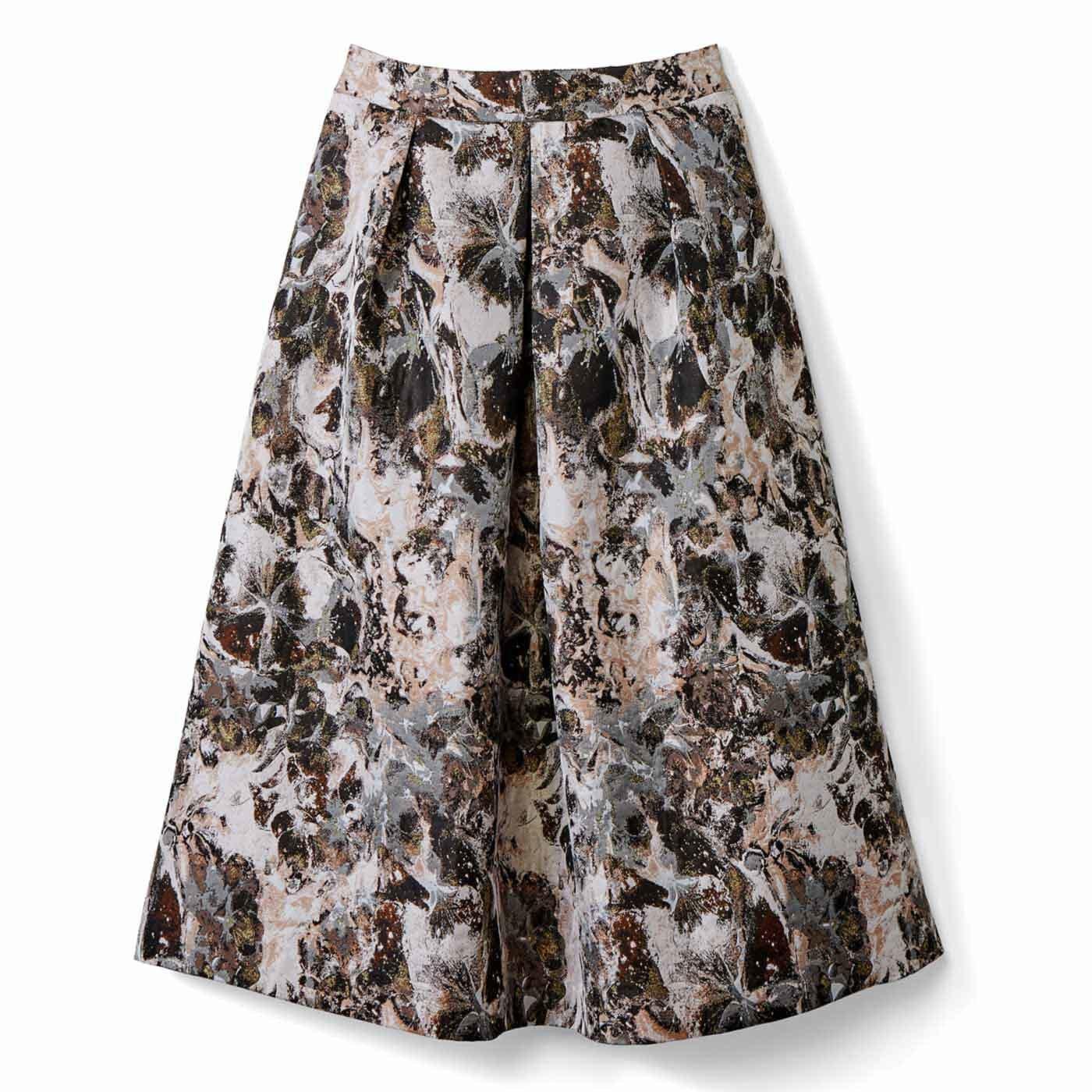 IEDIT[イディット] ふわりシルエットのフラワージャカードスカート〈ピンク〉