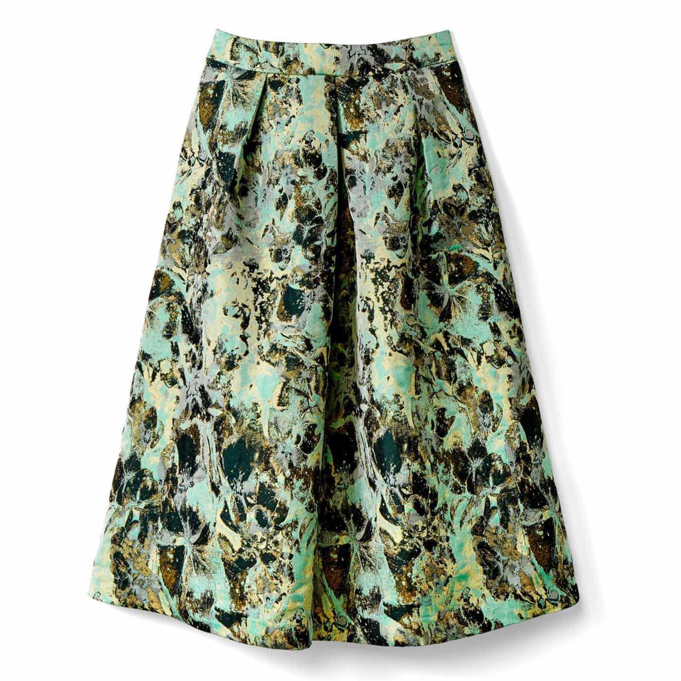 IEDIT[イディット] ふわりシルエットのフラワージャカードスカート〈グリーン〉