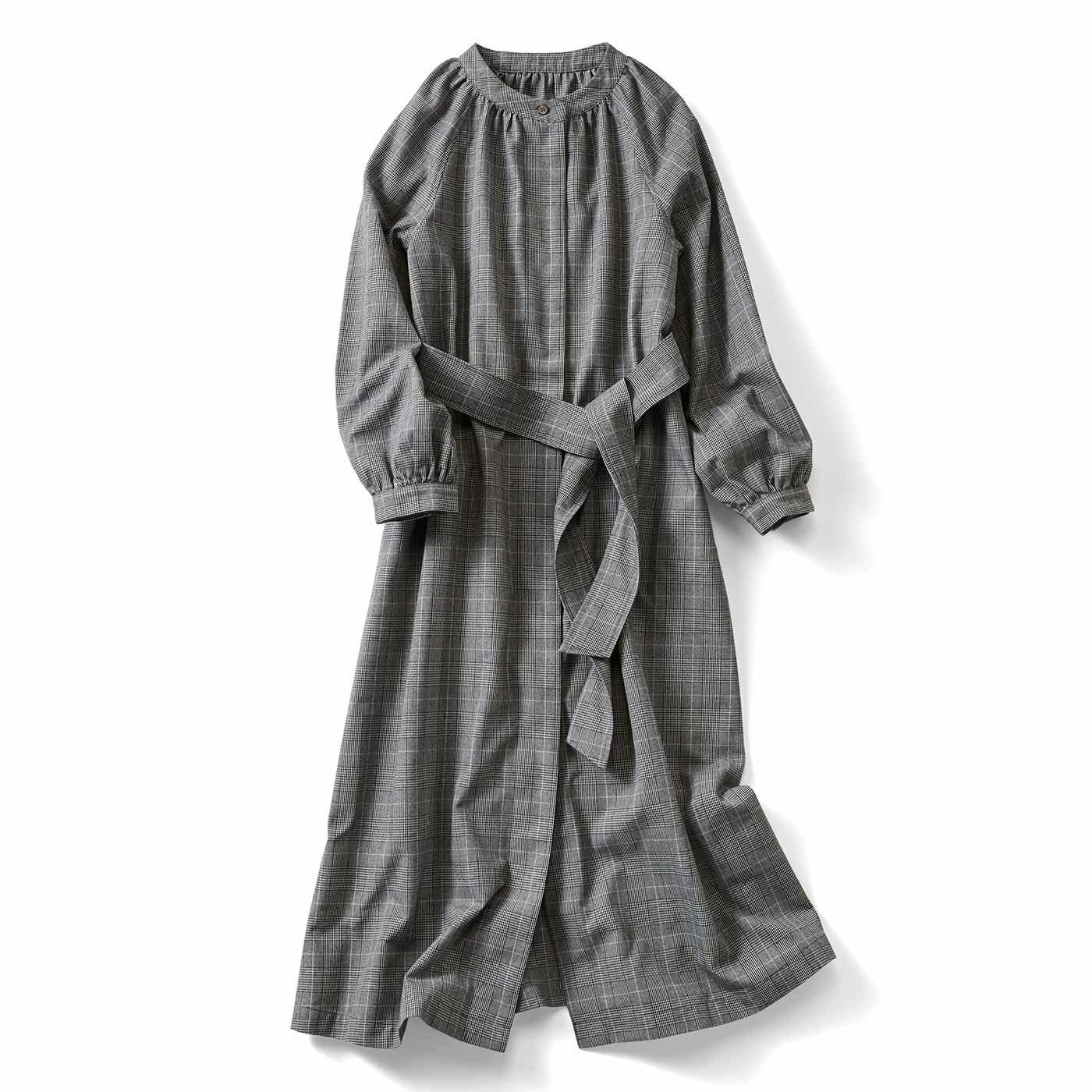 IEDIT[イディット] グレンチェック柄の着こなし自由なワンピースコート〈ブラック〉