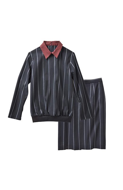 チョークストライプ地のトップス+Iラインスカート