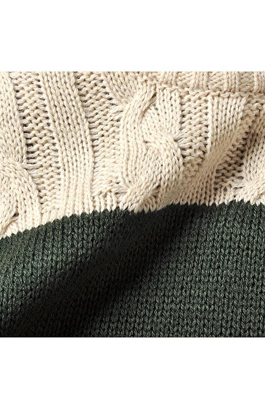 お手入れしやすく着心地のよいアクリル100%。ニット部分の前身ごろにケーブル編みをほどこして、高級感のある仕上がりに。