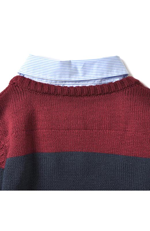 シャツ衿は背中とアームホールだけで縫い付けて、一枚仕立てに。