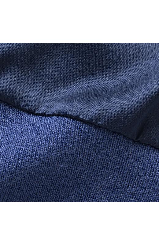 ほんのりゆるめに編み立てた、肌ざわりのいい綿100%のニット生地。洗濯機で洗えるので、お手入れもらくちんです。