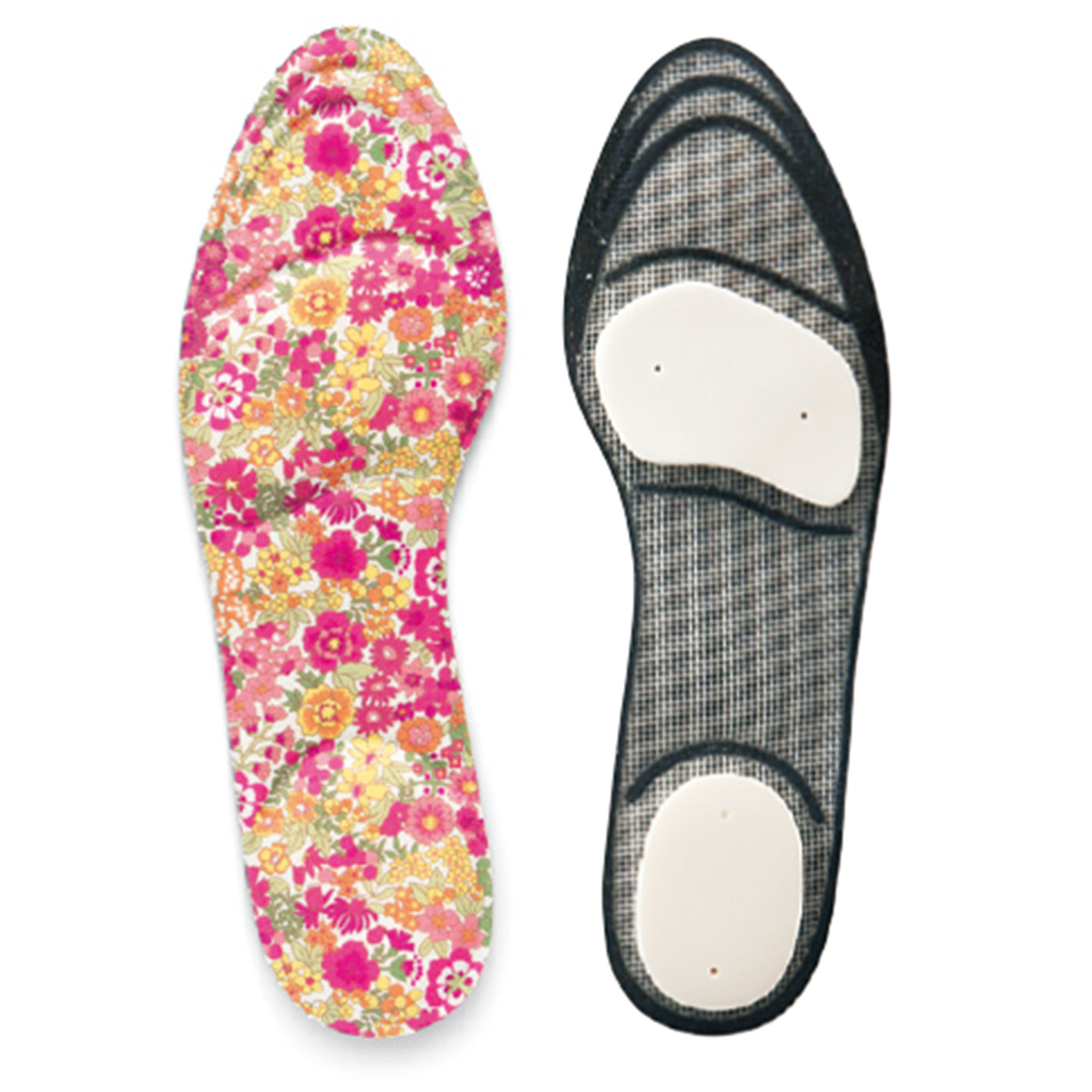 靴のサイズに合わせてカットできます。(左:内部構造)中には消臭効果のある活性炭繊維を使用。