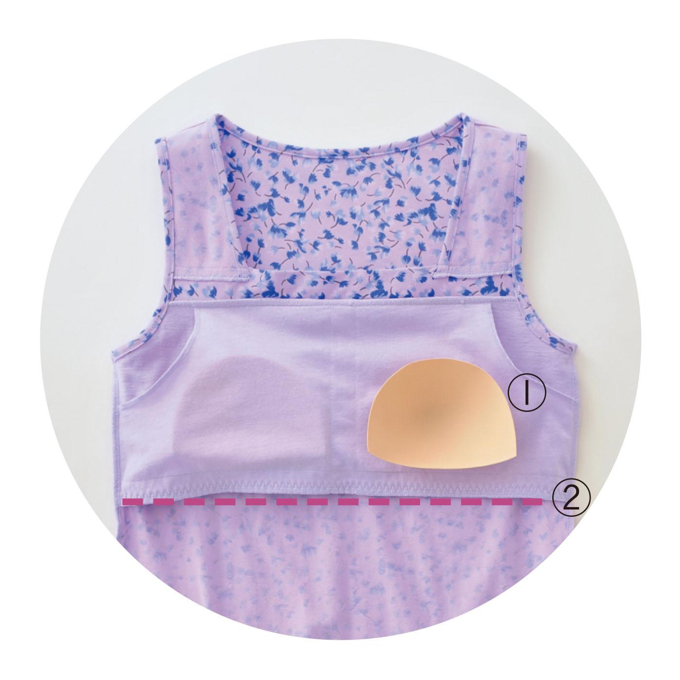 ①ブラなしでもバストトップの心配を解消するパッド入り。 ②パッド袋のずり上がり防止に、パッドの袋アンダー部分のみゴム入り。ゴムが肌に当たらない仕様なので快適。