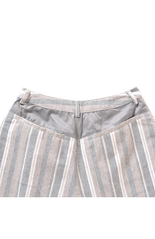 リス クロース ストライプ柄のクロップド綿麻混パンツ:グレイ