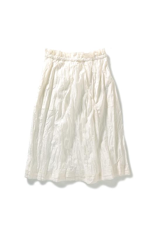.fr シルク混素材のソフトリンクルスカート:ホワイト
