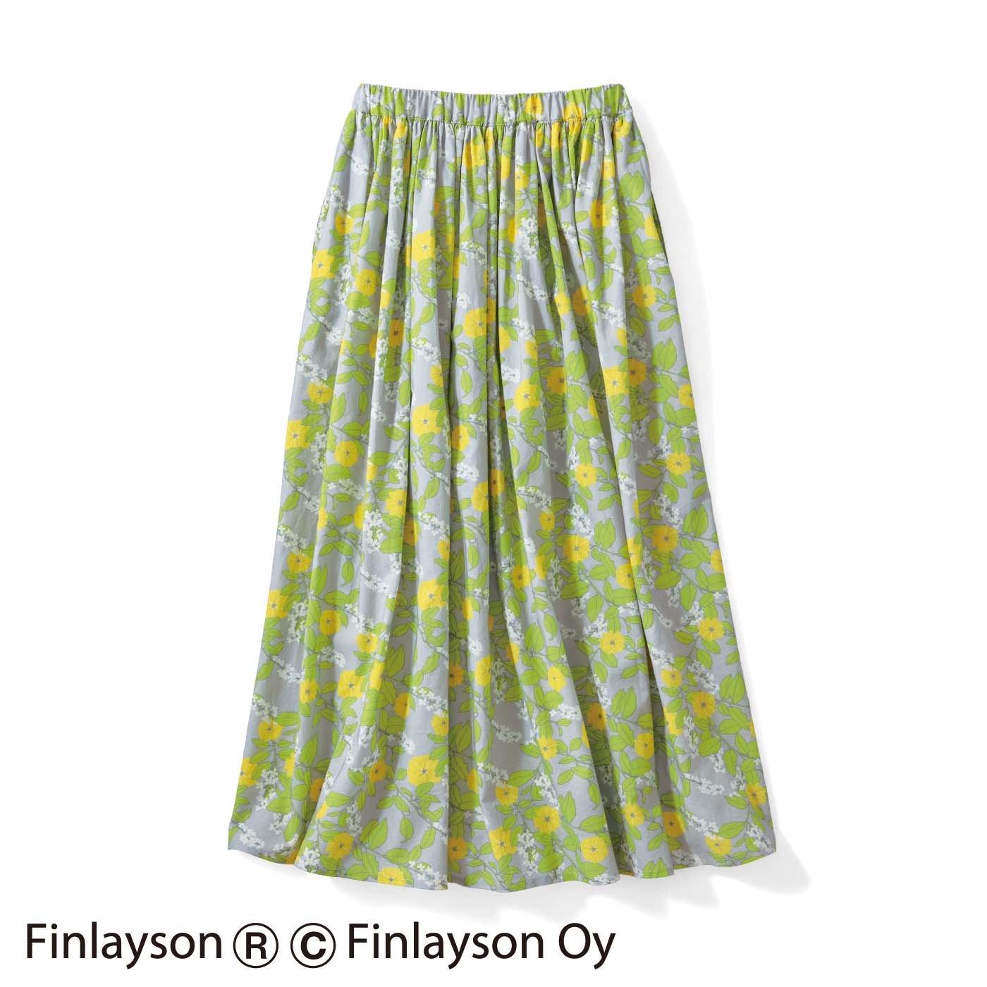 【3~10日でお届け】シロップ.×フィンレイソン プリントギャザースカート〈TUOMI〉