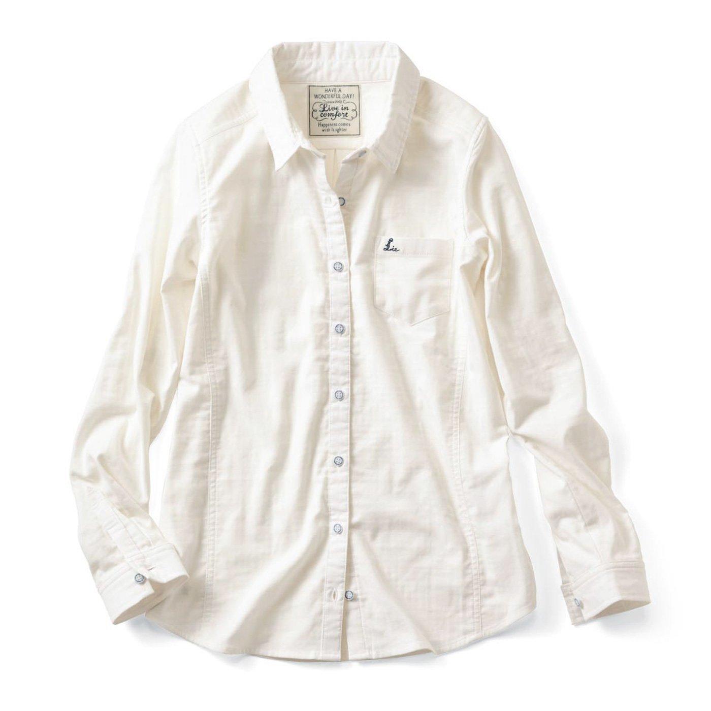 リブ イン コンフォート 重ね着してももたつかない! ストレッチガーゼ×カットソーの伸びシャツ〈オフホワイト〉