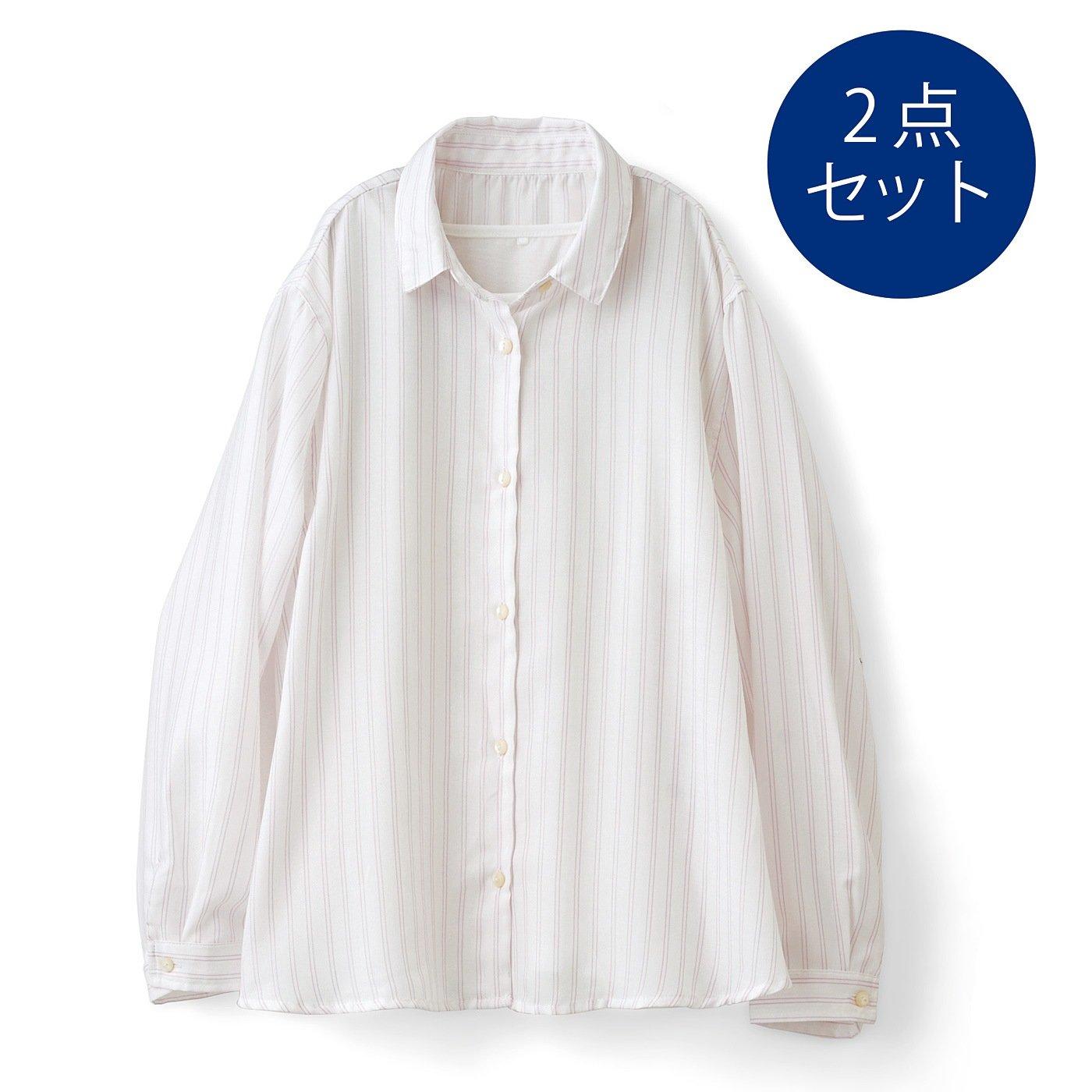 DRECOバイヤーズセレクト ストライプシャツとTシャツのセット〈ホワイト〉