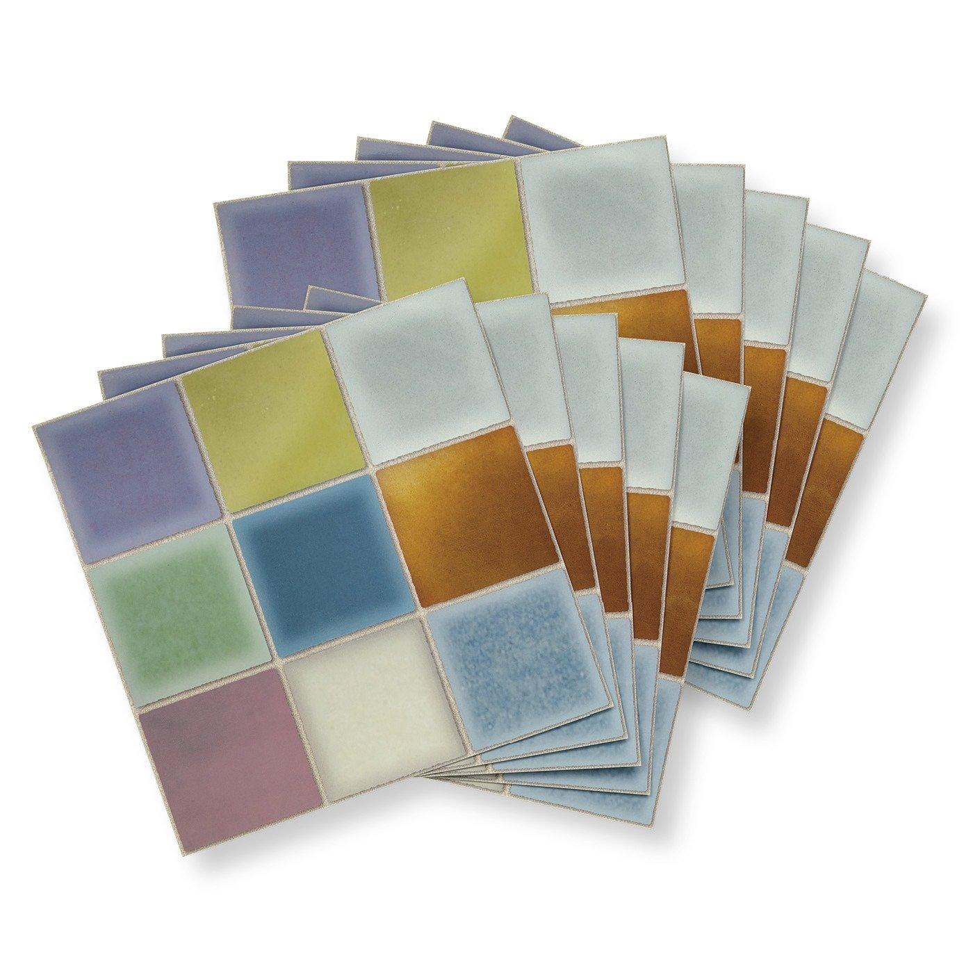 【2個セット初回お試し】汚れがふき取りやすい 30cm角のスクエアタイル壁紙シール〈パステルレインボー〉の会
