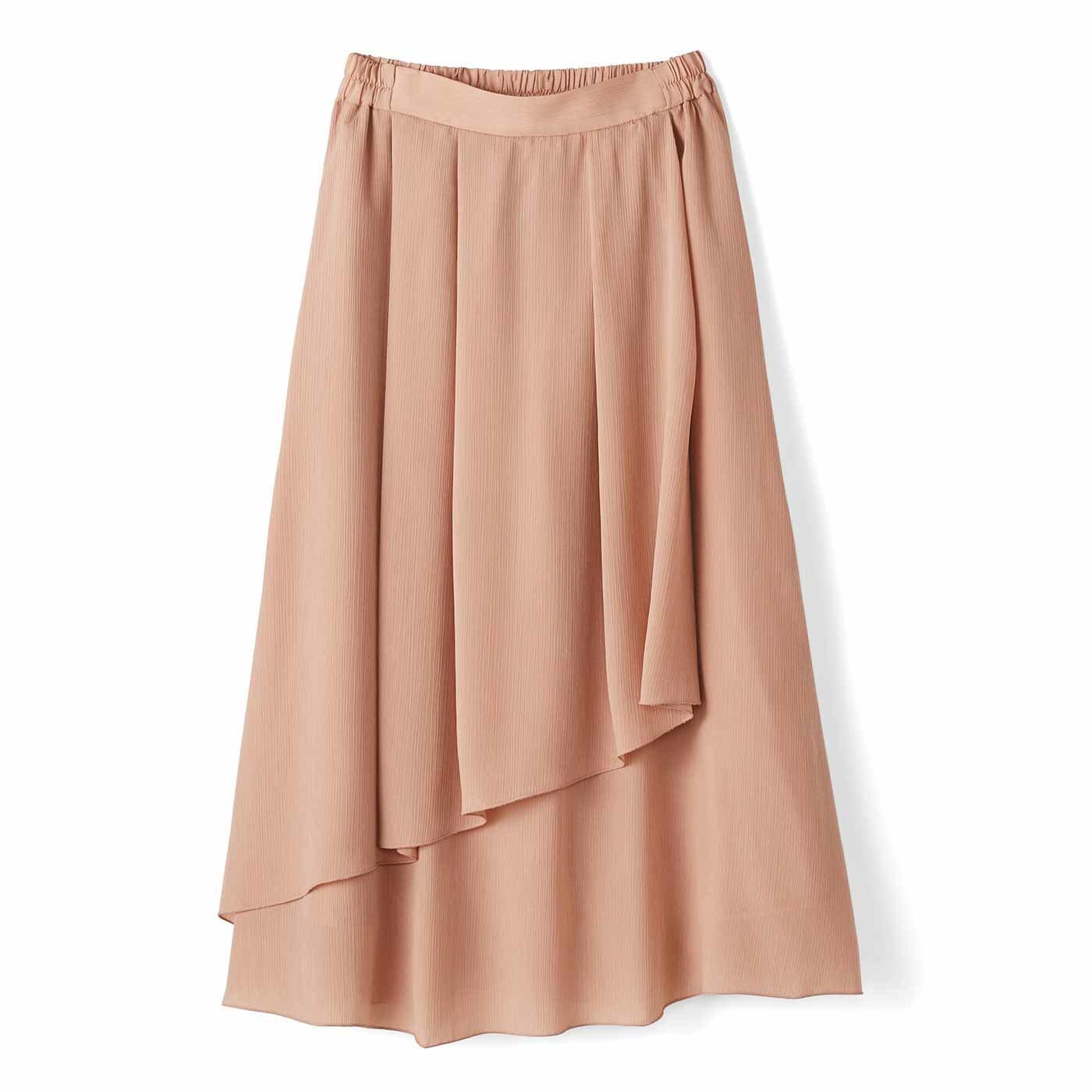 【3~10日でお届け】IEDIT[イディット] 動くたびゆらめく 花びらみたいなラップ風スカート〈ライトピンク〉