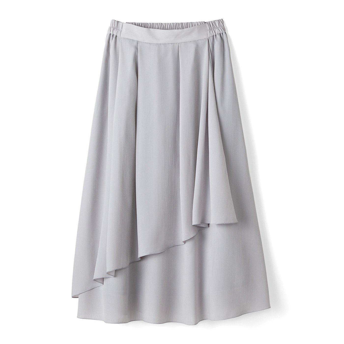 【3~10日でお届け】IEDIT[イディット] 動くたびゆらめく 花びらみたいなラップ風スカート〈アイスグレー〉
