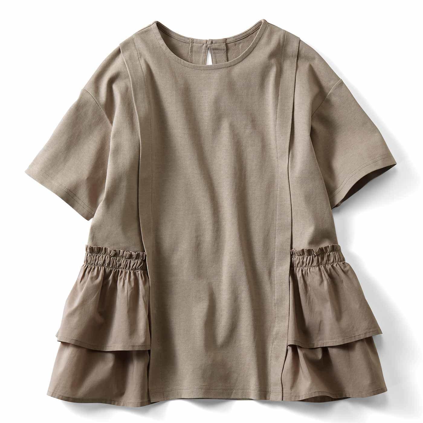 【3~10日でお届け】IEDIT[イディット] 汗じみ軽減加工をほどこした異素材遣いTシャツ〈ベージュ〉