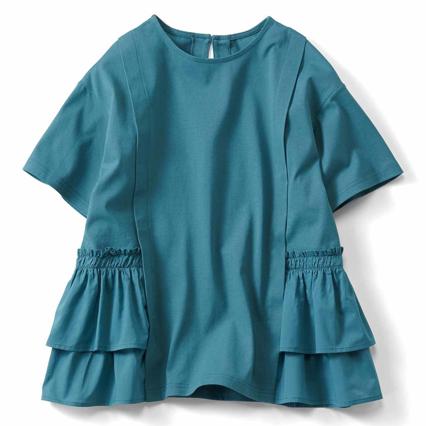 【3~10日でお届け】IEDIT[イディット] 汗じみ軽減加工をほどこした異素材遣いTシャツ〈グリーン〉
