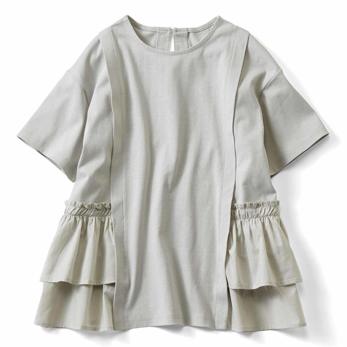 【3~10日でお届け】IEDIT[イディット] 汗じみ軽減加工をほどこした異素材遣いTシャツ〈グレー〉