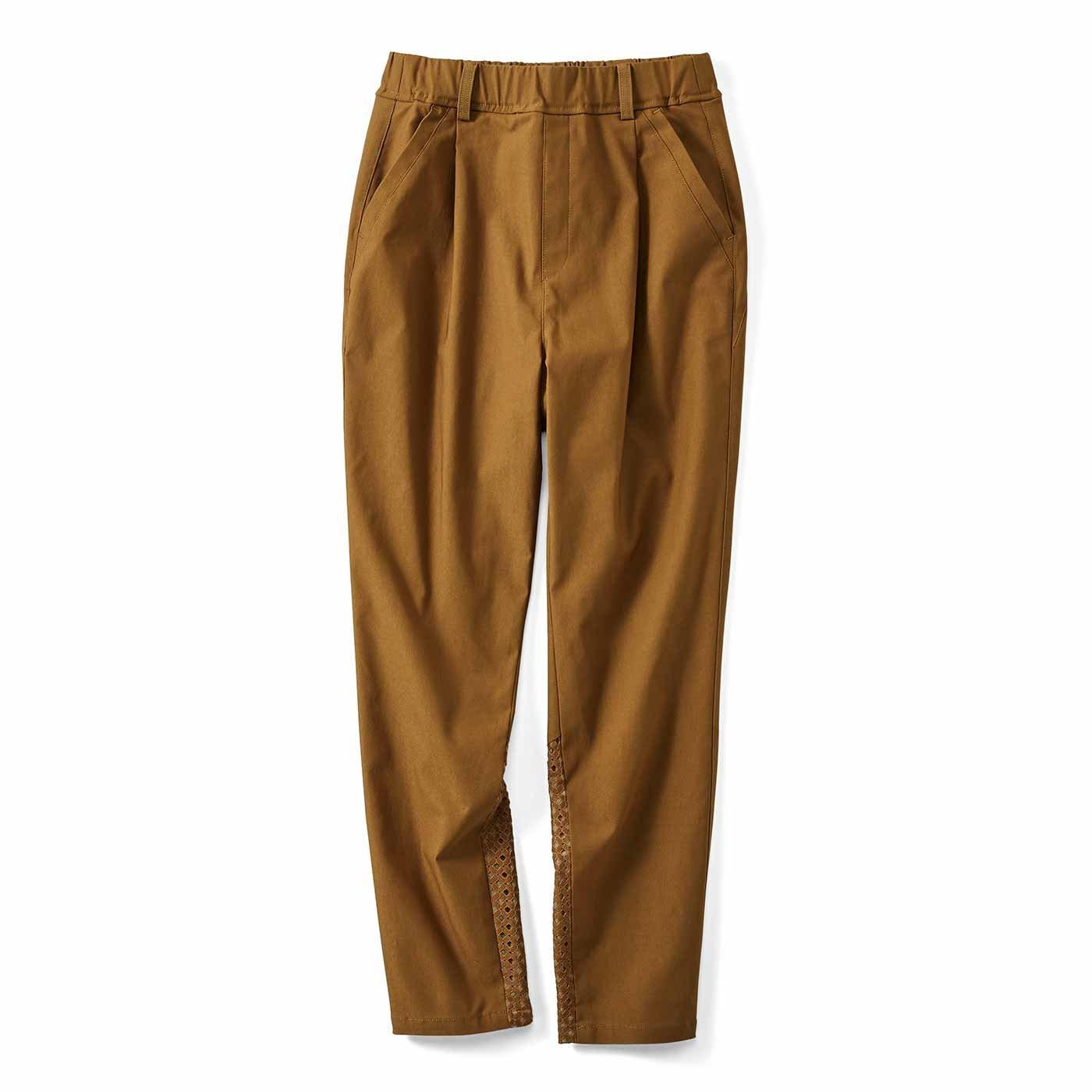 【3~10日でお届け】IEDIT[イディット] 歩くたびに空気が通る涼やかパンツ 美脚テーパード〈キャメル〉