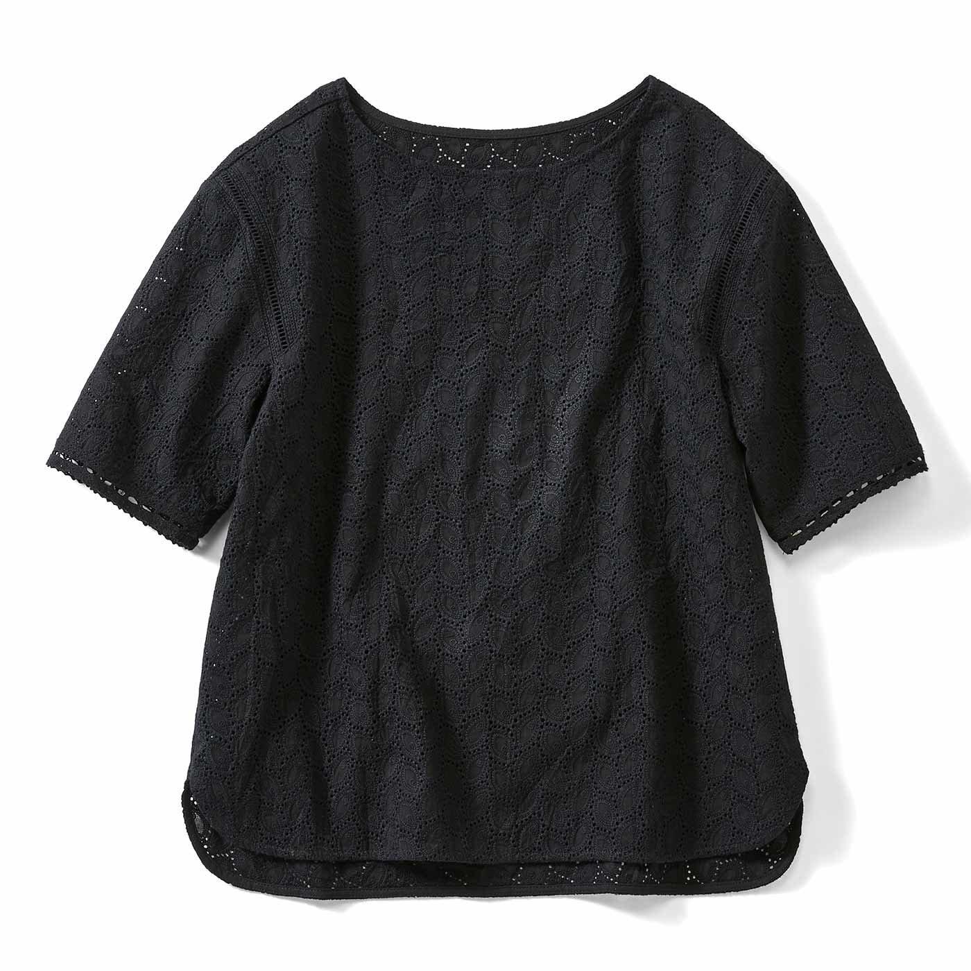 【3~10日でお届け】IEDIT[イディット] Tシャツ感覚で華やぐ総レーストップス〈ブラック〉