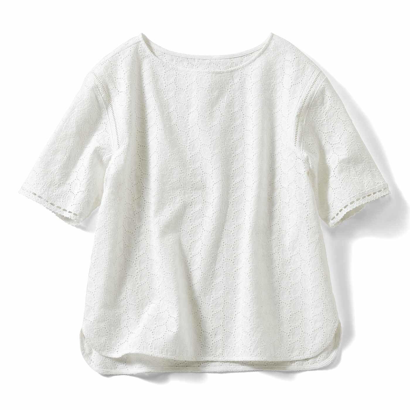【3~10日でお届け】IEDIT[イディット] Tシャツ感覚で華やぐ総レーストップス〈ホワイト〉