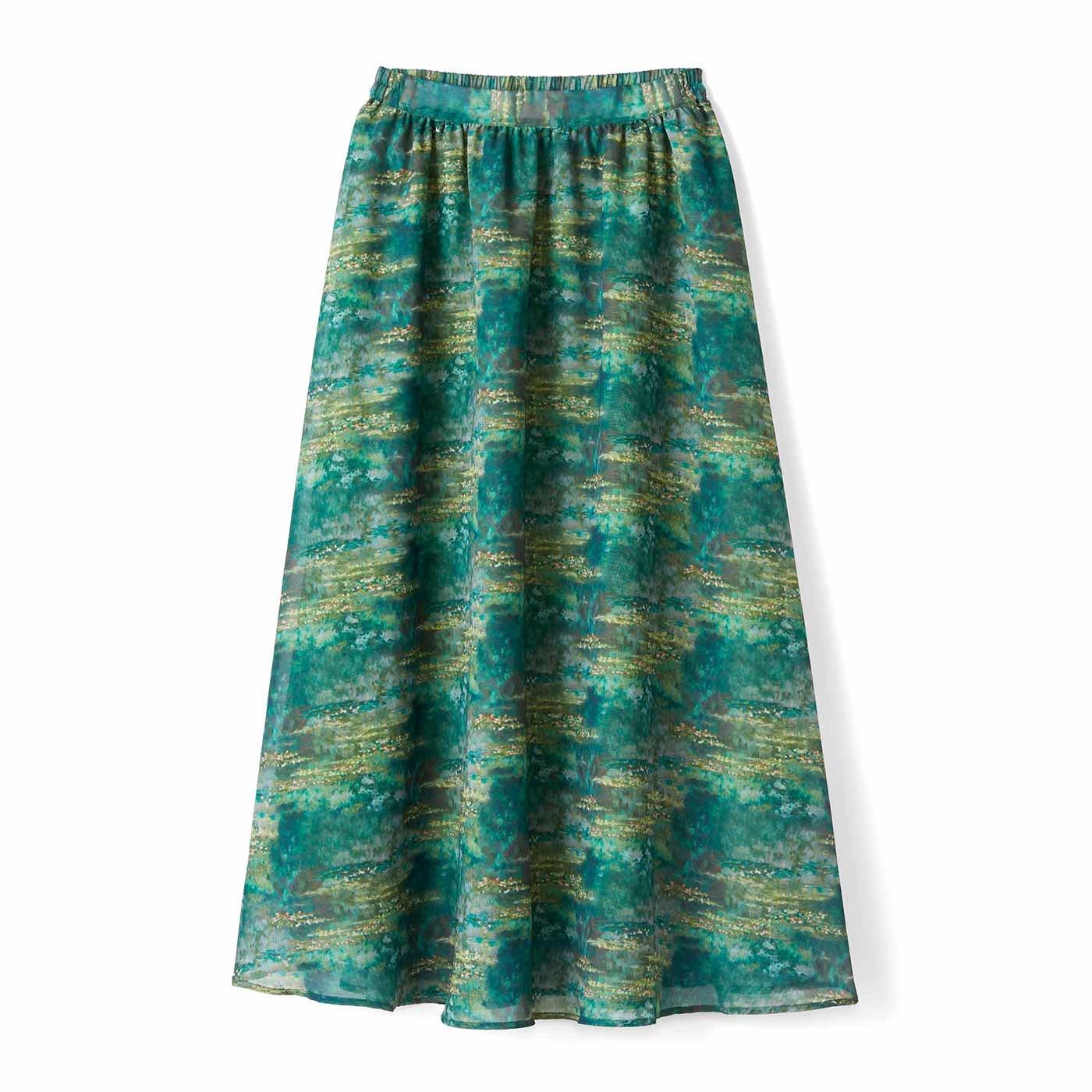 【3~10日でお届け】IEDIT[イディット] モネの睡蓮をまとうシフォンスカート〈グリーン〉