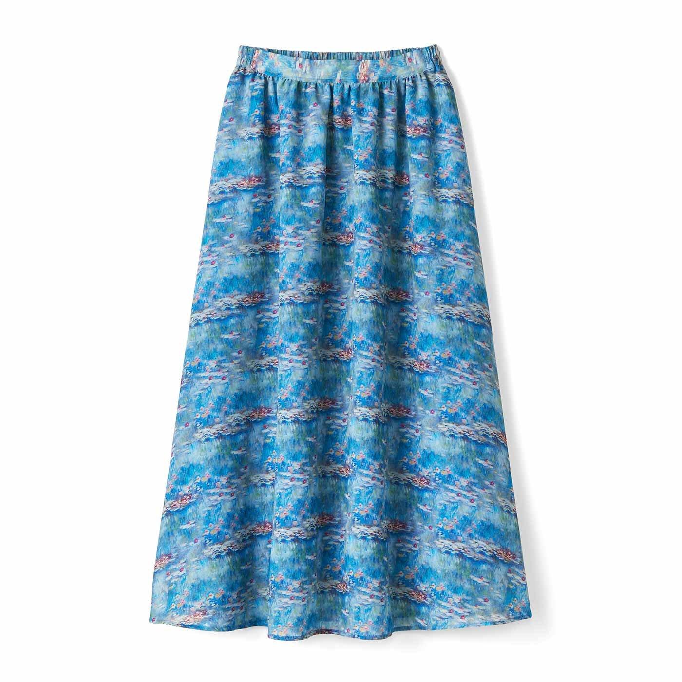 【3~10日でお届け】IEDIT[イディット] モネの睡蓮をまとうシフォンスカート〈ブルー〉