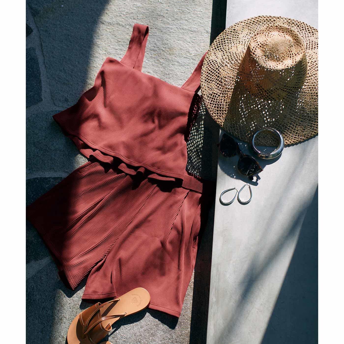 【3~10日でお届け】IEDIT[イディット] 福田麻琴さんコラボ まるで服みたいなスイムウェア〈ブリックブラウン〉