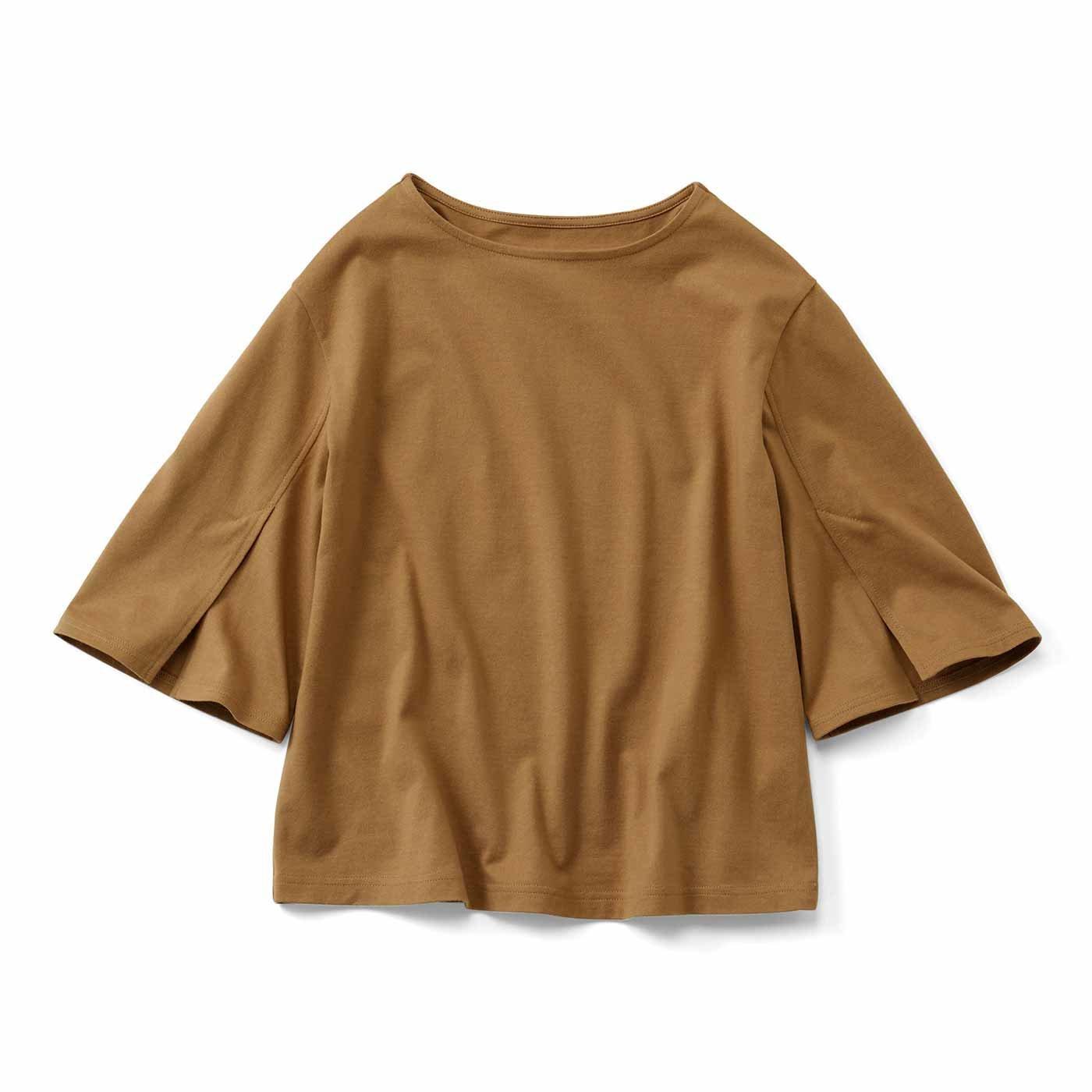 【3~10日でお届け】IEDIT[イディット] 消臭機能×コットン100% 袖スリットデザイントップス〈ブラウン〉