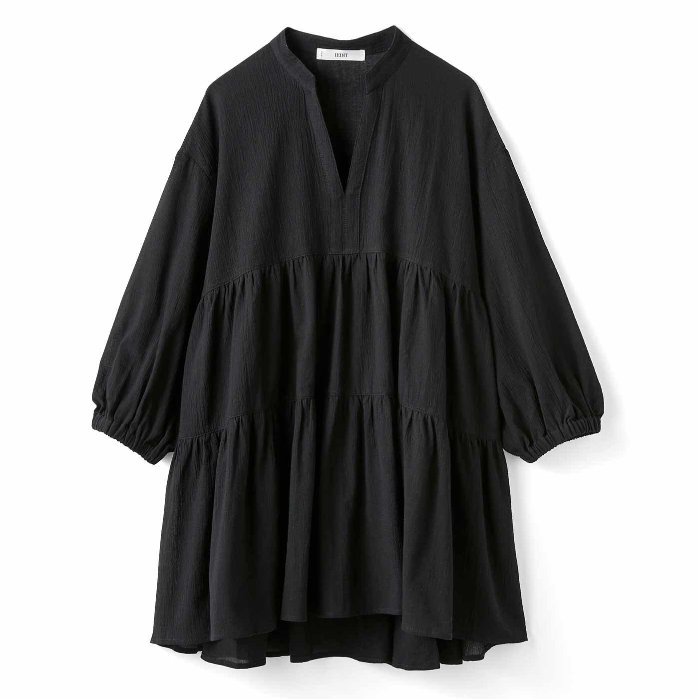 【3~10日でお届け】IEDIT[イディット] 楊柳(ようりゅう)コットン素材のティアードロングブラウス〈ブラック〉