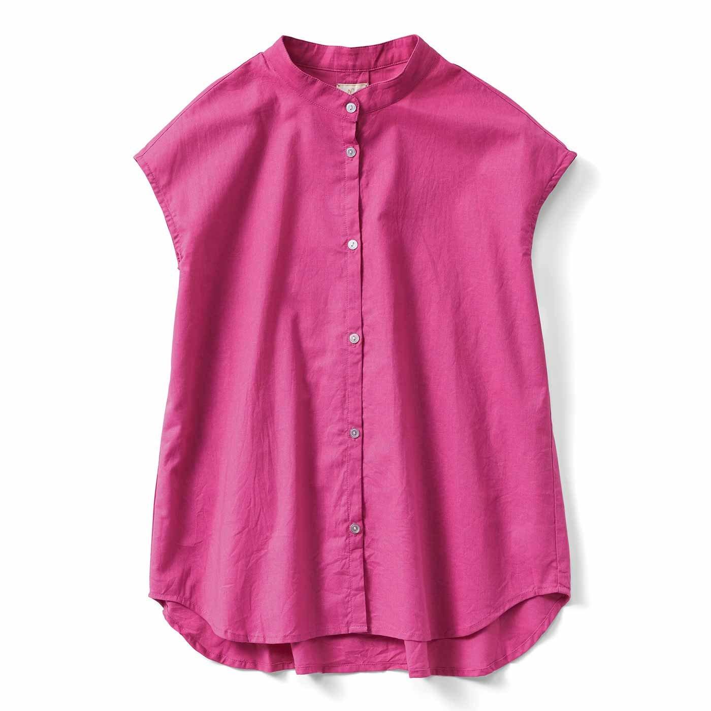【3~10日でお届け】IEDIT[イディット] コットンリネンのバンドカラーシャツ〈ドラゴンフルーツピンク〉