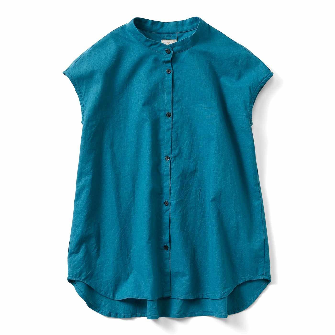【3~10日でお届け】IEDIT[イディット] コットンリネンのバンドカラーシャツ〈ピーコックグリーン〉