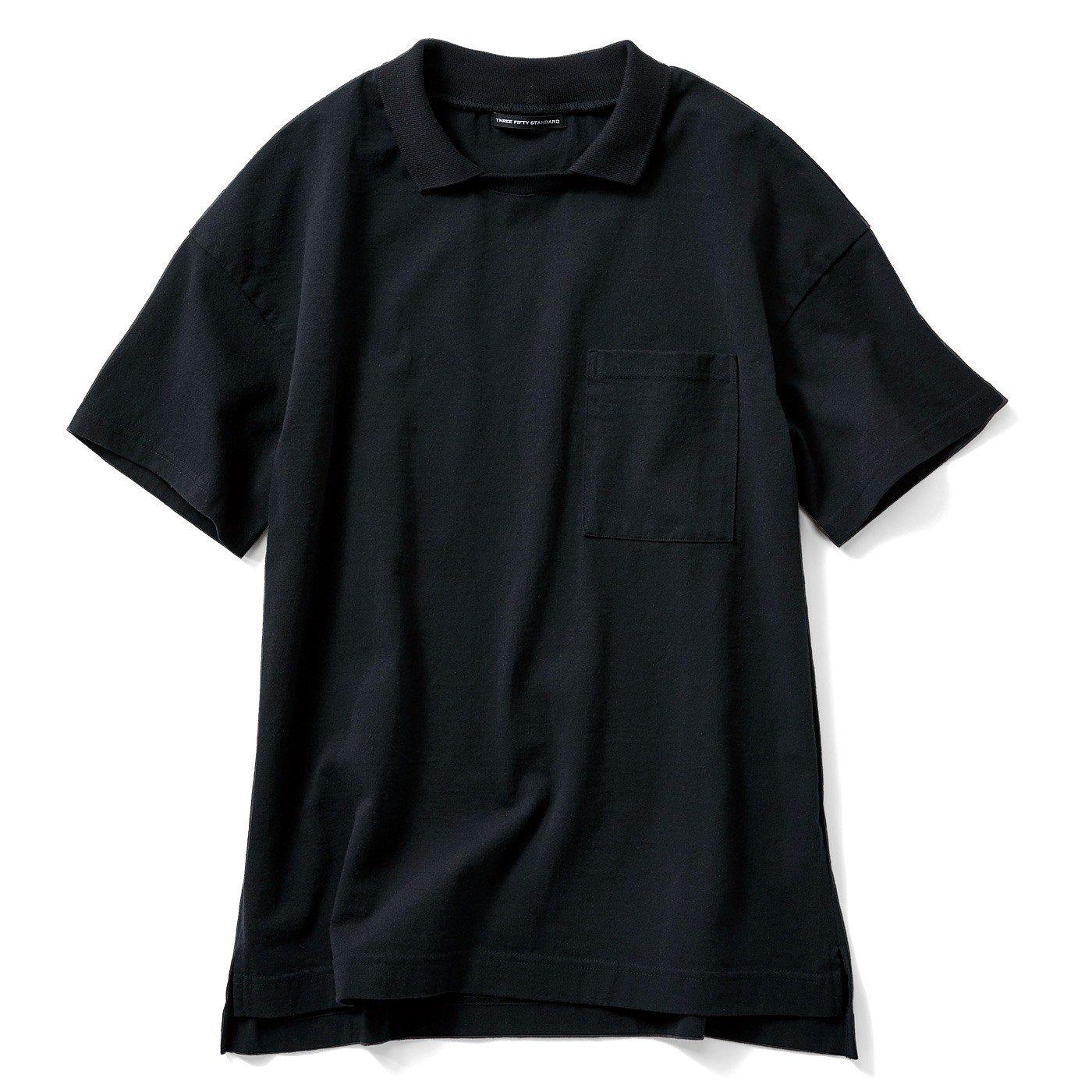 THREE FIFTY STANDARD ポロシャツみたいな衿付きスキッパーシャツ〈ブラック〉