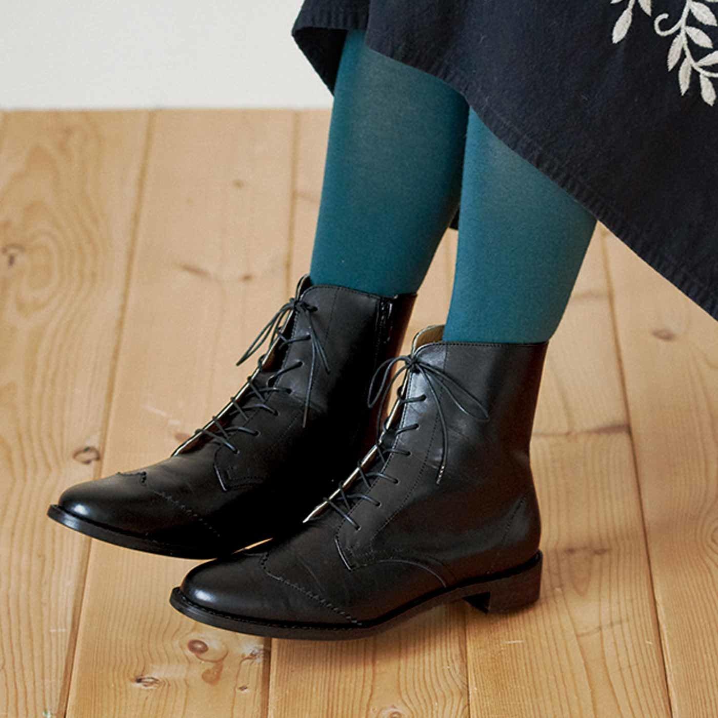長田靴職人の本革仕立て 見惚(みと)れる アンティロープブーツ〈クラシックブラック〉[本革 ブーツ:日本製]