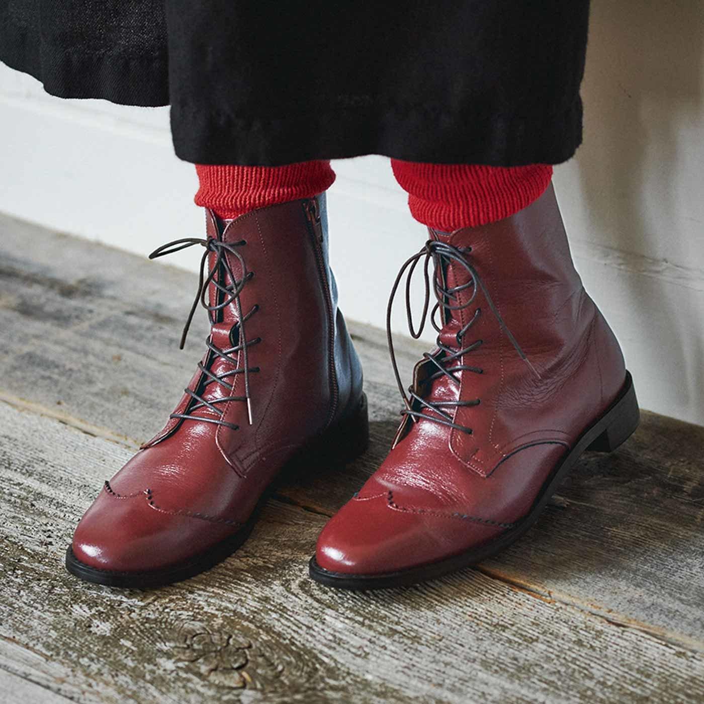 長田靴職人の本革仕立て 見惚(みと)れる アンティロープブーツ〈レッドブラウン〉[本革 ブーツ:日本製]