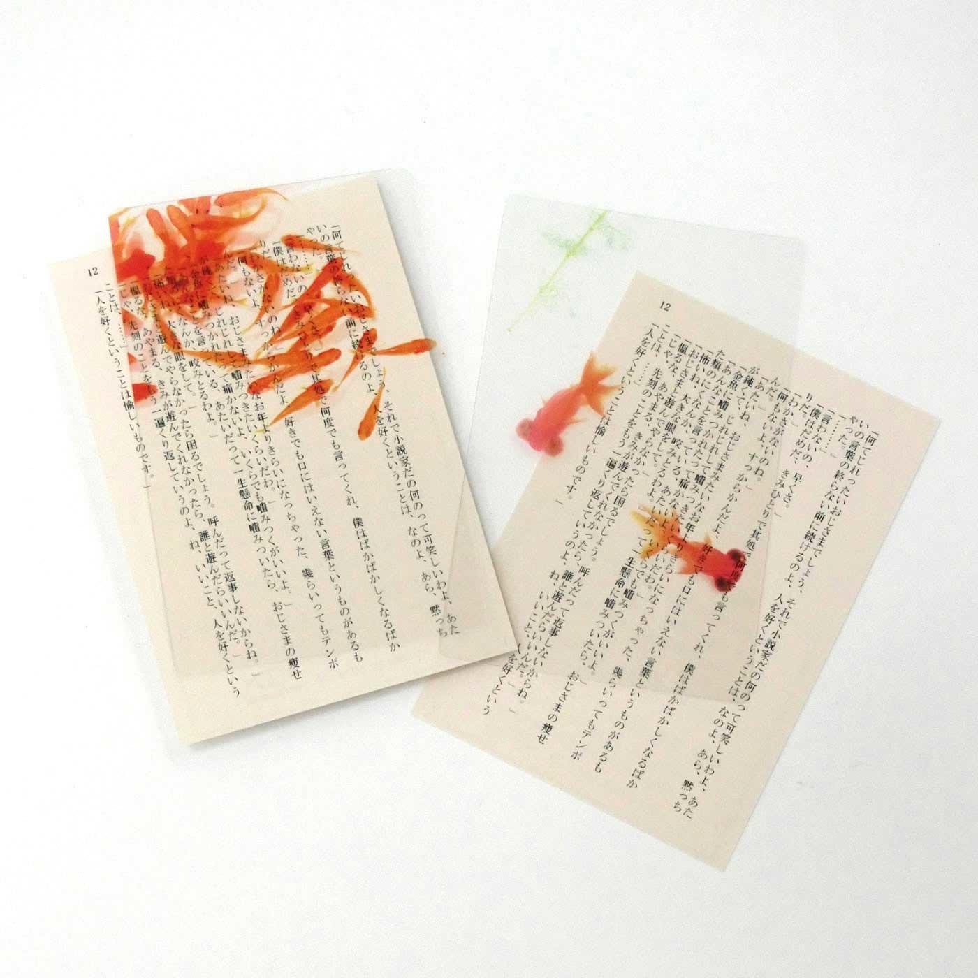本の中を金魚が泳ぐ!? 金魚の透明しおりセット〈小赤&赤出目金〉