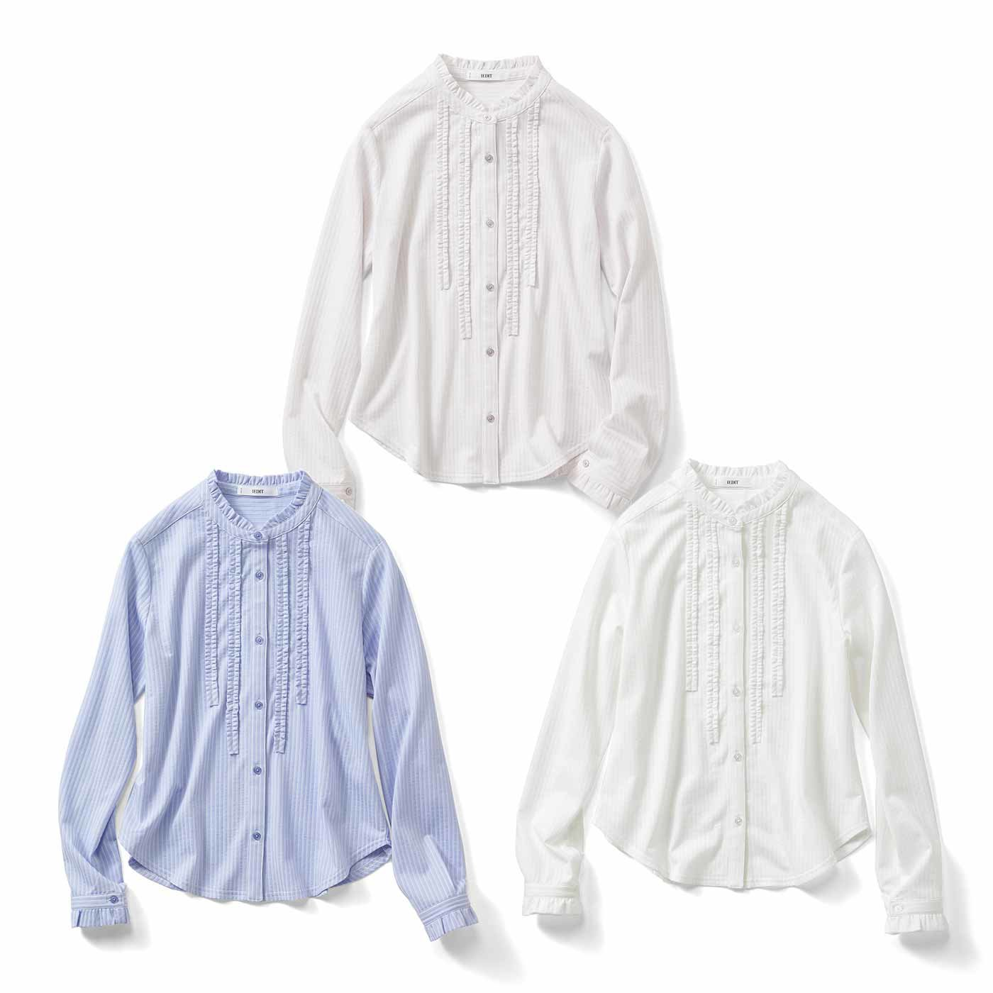 IEDIT[イディット] バンドカラーにフリルが知的フェミニンな吸汗速乾カットソーシャツの会