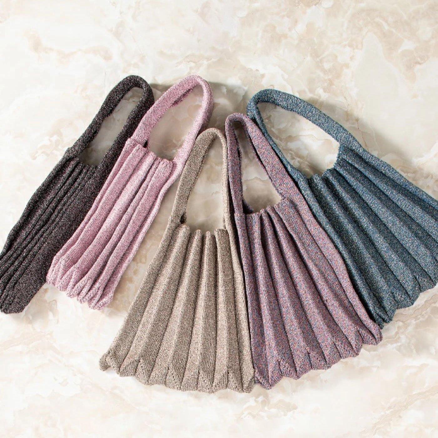 きらきら美しいラメ糸を編み込んだ エレガントなプリーツバッグ LAMEITO(ラメイト)