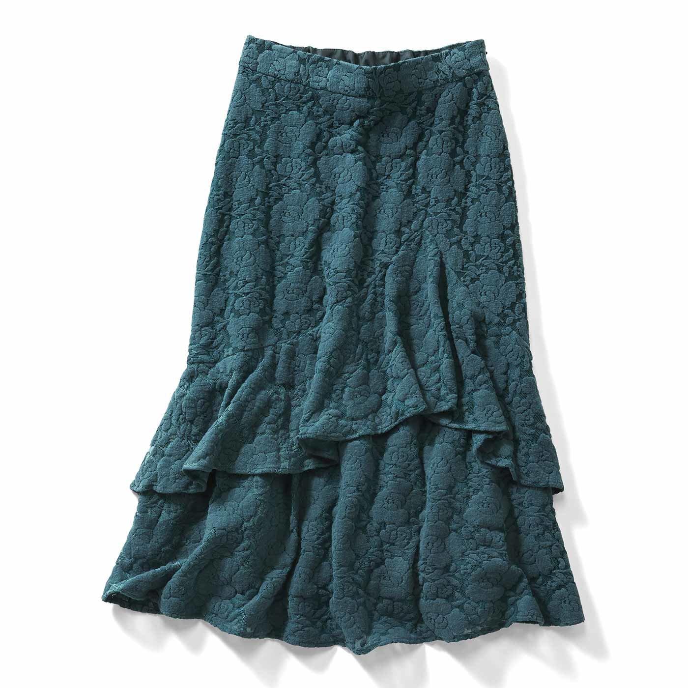 IEDIT[イディット] 起毛レースがリッチで大人っぽい アシメトリーフレアーのミディースカート〈ブルーグリーン〉