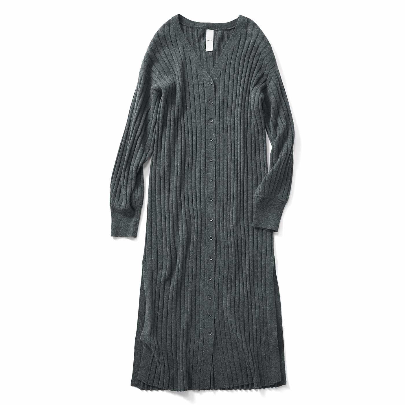 IEDIT[イディット] ワンピにもカーデにもなる ゆるっと心地いいリブ編みのロングニットカーデワンピース〈ダークグレー〉