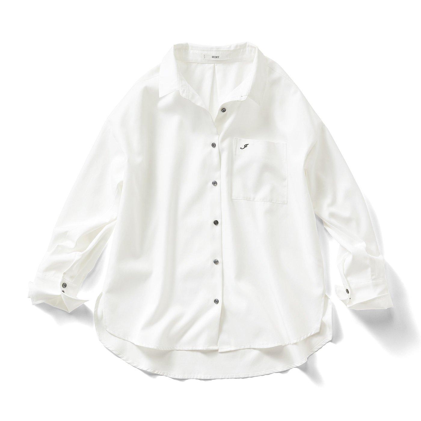 IEDIT[イディット] クレバー素材のしなやかこだわりシャツ〈オフホワイト〉